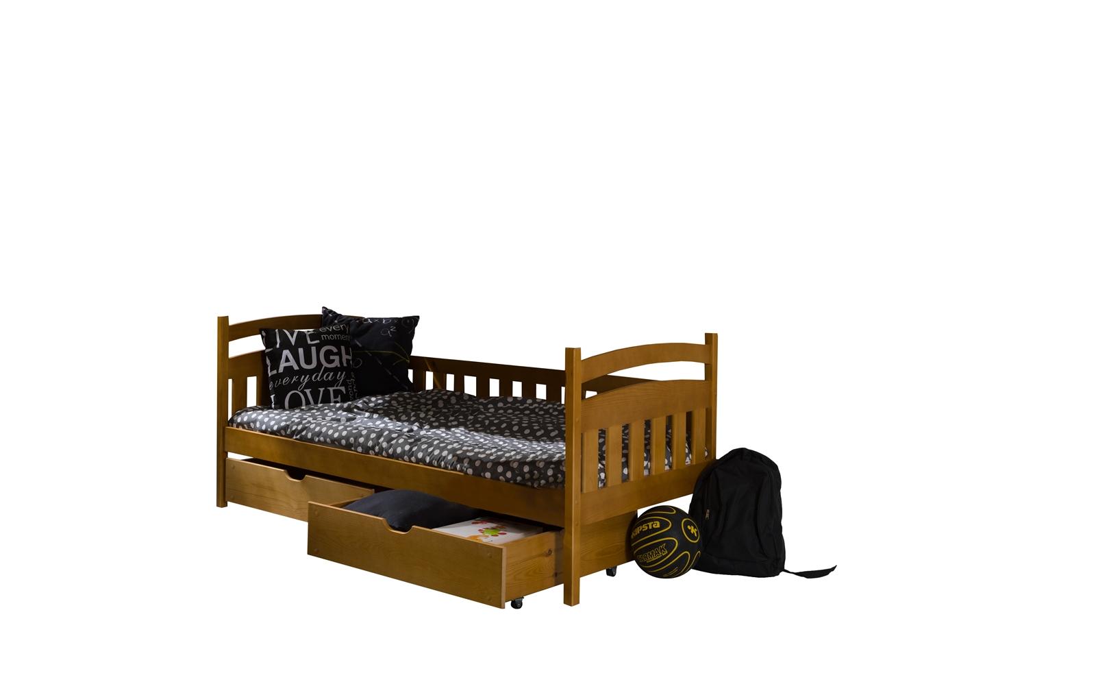 61ba1d193f4e Dřevěná postel L-Tobium 90x200 cm s úložným prostorem borovice masiv